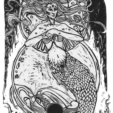 mermaid woodcut
