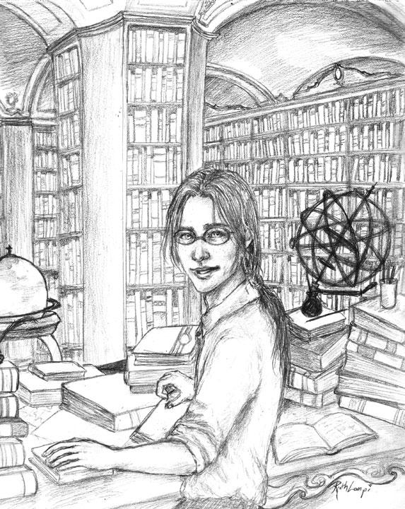 Djaren in the library