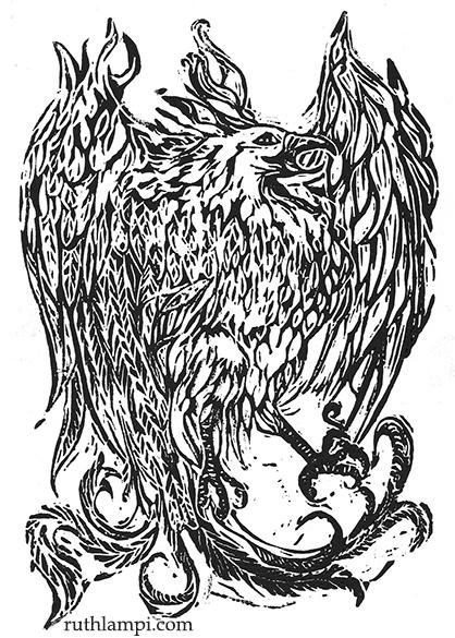 """Phoenix Linoblock"" by Ruth Lampi"